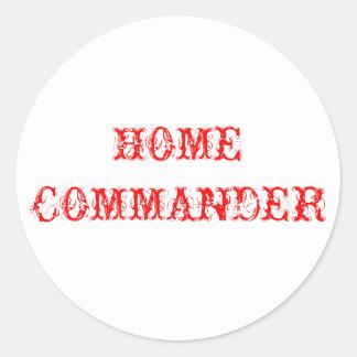 Zuhause-Kommandant Runder Aufkleber