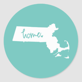Zuhause-Massachusetts-Gewohnheits-Farbe Runder Aufkleber