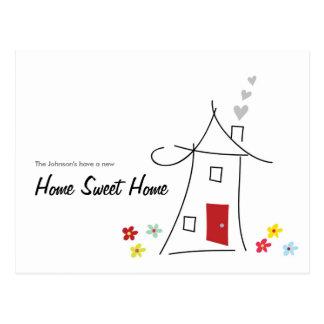 Zuhause-süßes Zuhause bewegten wir Postkarte
