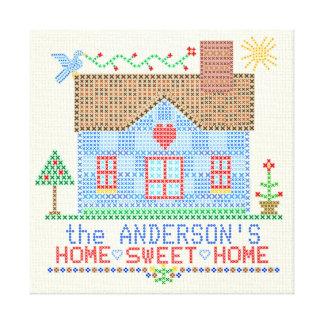 Zuhause-süßes Zuhause-Kreuz-Stich-Haus Leinwanddruck
