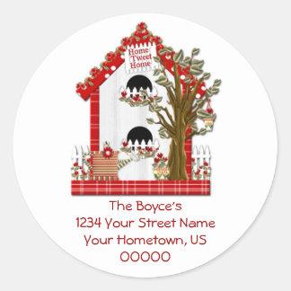 Zuhause tweeten Zuhause-Adressen-Aufkleber
