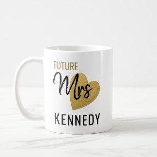Zukünftige Frau Gold Heart Schwarz-weiß Kaffeetasse