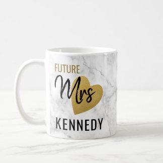 Zukünftige Frau Gold Heart und Marmor Kaffeetasse