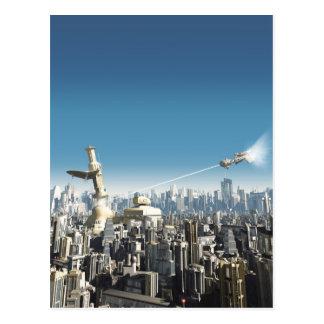 Zukünftige Stadt - fallender Turm Postkarte