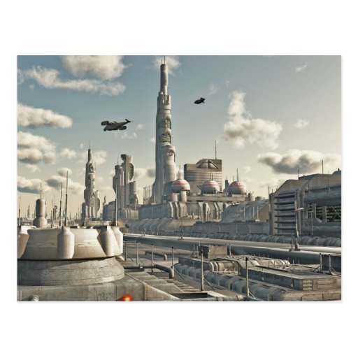 Zukünftige Stadt-Straßen Postkarte