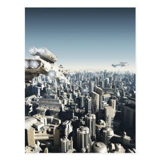 Zukünftige Stadt unter Angriff Postkarte