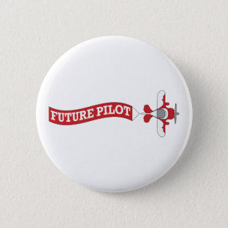 Zukünftiger Pilot - Flugzeug mit Fahne Runder Button 5,1 Cm