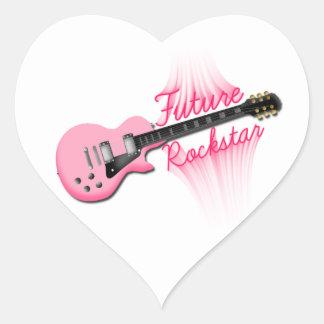 Zukünftiger Rockstar rosa Gitarren-Herzaufkleber