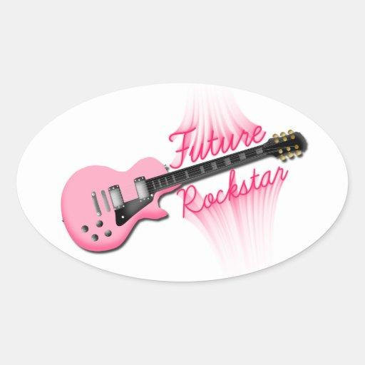 Zukünftiger Rockstar rosa Gitarren-Ovalaufkleber Ovale Aufkleber