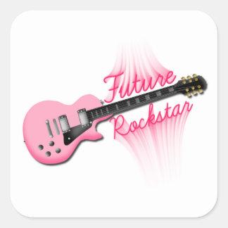 Zukünftiger Rockstar rosa Gitarren-Quadrataufklebe Quadrataufkleber
