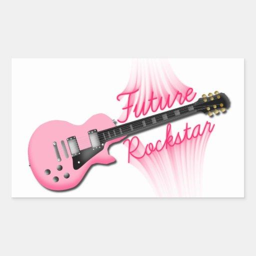 Zukünftiger Rockstar rosa Gitarren-Rechteckaufkleb Rechteckige Aufkleber