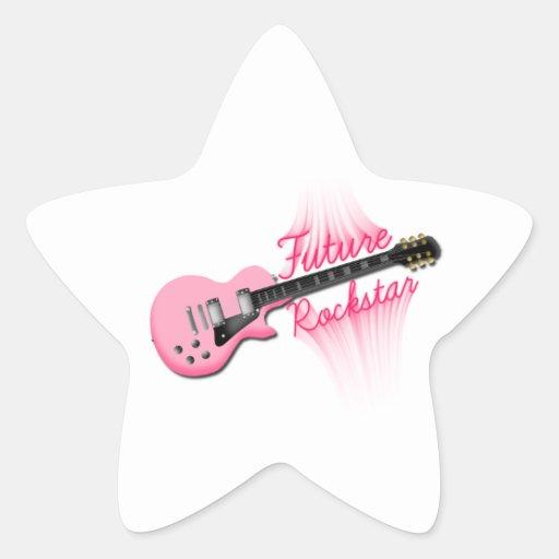 Zukünftiger Rockstar rosa Gitarren-Sternaufkleber