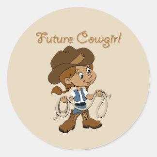 Zukünftiges Cowgirl-dunkle Haut, wenn ich Runder Aufkleber