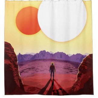 Zukünftiges Reise-Plakat der NASAs - entspannen Duschvorhang