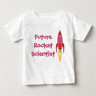 Zukünftiges Rocket-Wissenschaftler-Rosa Rocketship Baby T-shirt