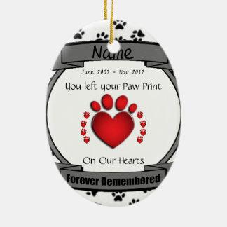 Zum Gedenken an Ihren Hund oder Katze für immer Ovales Keramik Ornament