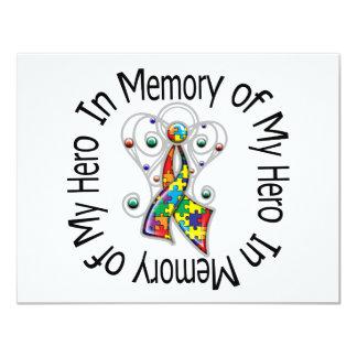 Zum Gedenken an meine Held-Autismus-Engels-Flügel 10,8 X 14 Cm Einladungskarte