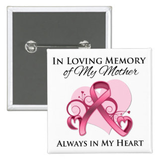 Zum Gedenken an meine Mutter - Brustkrebs Quadratischer Button 5,1 Cm