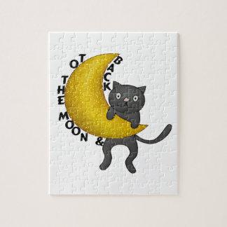 Zum Mond u. hinteren zur Miezekatze-Katze Puzzle