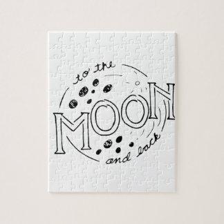 Zum Mond und hinteren zum Cartoon-Entwurf Puzzle