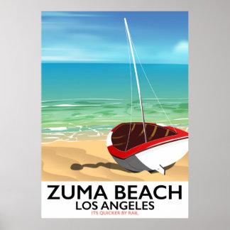 Zuma-Strand LA Schienen-Strandplakat Poster