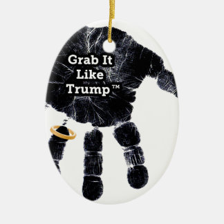 Zupacken mag es Trumpf Handprint mit Ring Keramik Ornament