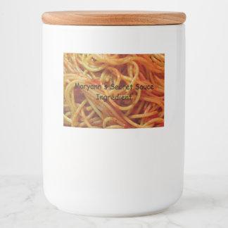 Zur Liebe-Spaghetti-Gewohnheits-Schablone Lebensmitteletikett