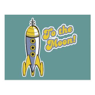 zur Retro Weltraumrakete des Mondes Postkarten