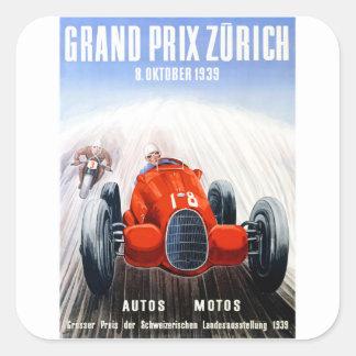 Zürich 1939 Grandprix, der Plakat läuft Quadratischer Aufkleber