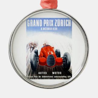 Zürich 1939 Grandprix, der Plakat läuft Rundes Silberfarbenes Ornament