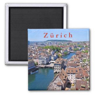 Zürich. Panorama vom Grossmunster Turm Quadratischer Magnet