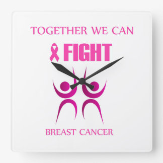 Zusammen können wir Brustkrebs kämpfen Quadratische Wanduhr