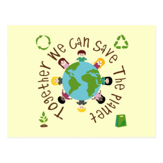 Zusammen können wir den Planeten retten Postkarte