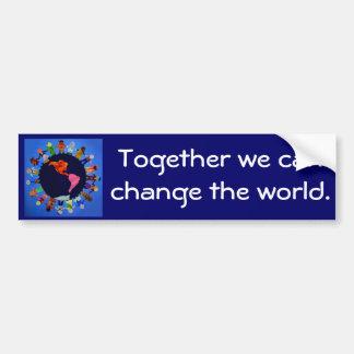 Zusammen können wir den WeltAutoaufkleber ändern Autoaufkleber