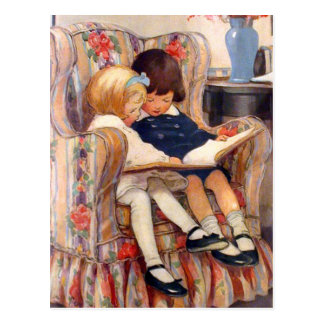 Zusammen lesen postkarte