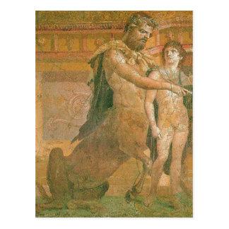 Zusammenfassendes Chiron weist jungen Achilleus Postkarte