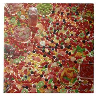 Zusammenstellung der Süßigkeiten Große Quadratische Fliese