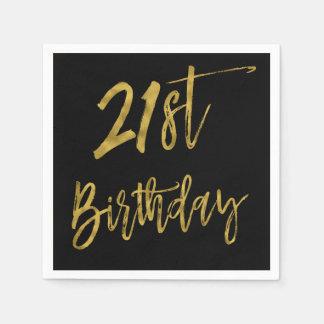 Zwanzig erste Goldfolien-Geburtstags-Servietten Papierservietten