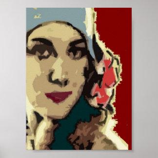 Zwanzigerjahre Dame in einem blauen Hut Poster