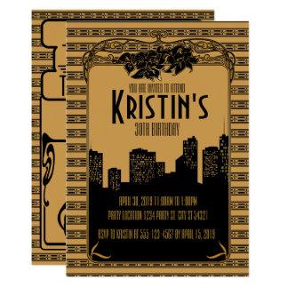 Zwanzigerjahre golden, Kunst-Deko-Party 12,7 X 17,8 Cm Einladungskarte