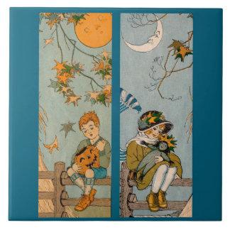 Zwanzigerjahre Junge und Mädchen im Herbst Keramikfliese