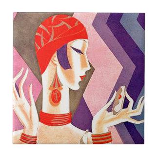 Zwanzigerjahre Kunst-Deko-Frau Keramikfliese