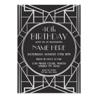Zwanzigerjahre Kunst-Deko-Geburtstag Gatsby Silber Karte
