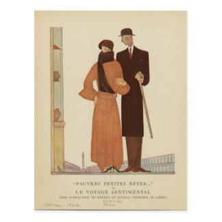 Zwanzigerjahre Kunst-Deko-Paare ~ die Sentimental Postkarte