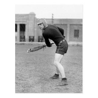 Zwanzigerjahre Lacrosse-Spieler Postkarte