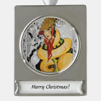Zwanzigerjahre Prallplatten-Weihnachtsgruß Banner-Ornament Silber