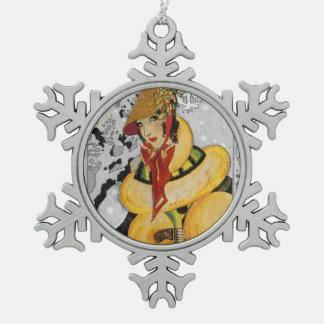 Zwanzigerjahre Prallplatten-Weihnachtsgruß Schneeflocken Zinn-Ornament