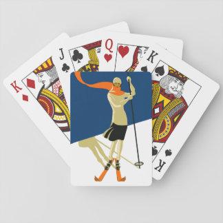 Zwanzigerjahre Vintager Skier-Entwurf Spielkarte