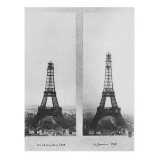 Zwei Ansichten des Baus des Eiffels Postkarte
