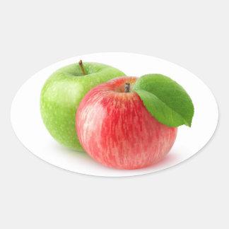 Zwei Äpfel Ovaler Aufkleber